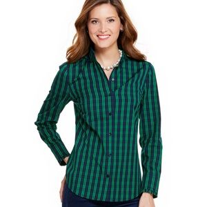 Vineyard Vines Holiday Plaid Ruffle Button Down